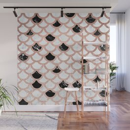 Girly rose gold black white marble mermaid scallop pattern Wall Mural