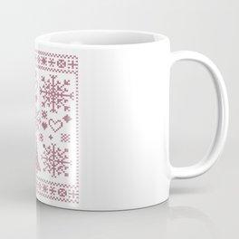 Christmas Cross Stitch Embroidery Sampler Pink And White Coffee Mug