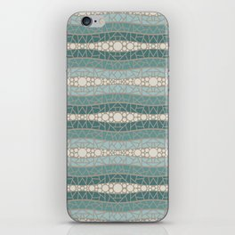 Mosaic Wavy Stripes in Teals and Cream 1 iPhone Skin