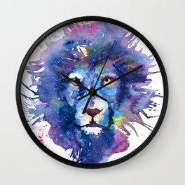 Watercolor Leo Zodiac Splatters Lion Wall Clock
