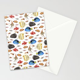 Tropical Fish on White - pattern Stationery Cards