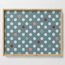 Sad Polka Dots Blue Multi Color Serving Tray