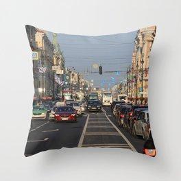 Cars traffic on Nevsky Prospect Throw Pillow