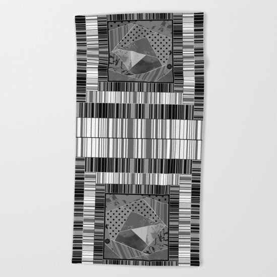Abstract pattern . Patchwork striped . Beach Towel