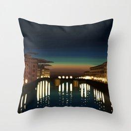 The Arno River Throw Pillow