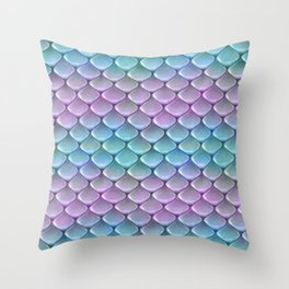 Pink And Turquoise Glamour Mermaid Scale Pattern Throw Pillow