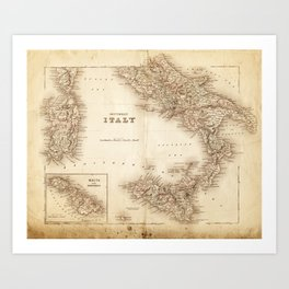 Map of Italy 1855 Art Print