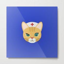 Nurse Cat ~ Blue Metal Print