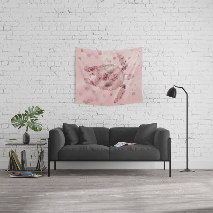 Glamour Turtle Rose Gold Wall Tapestry