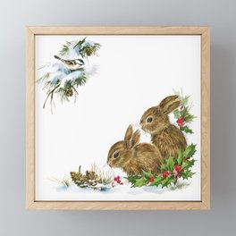 Winter in the forest - Animal Bunny Illustration Framed Mini Art Print