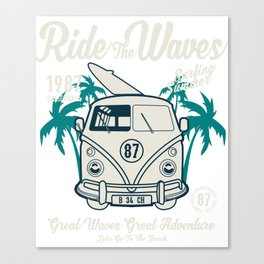 Ride The Waves California Surfing Summer Canvas Print