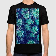 Plants of Blue And Green Mens Fitted Tee Black MEDIUM
