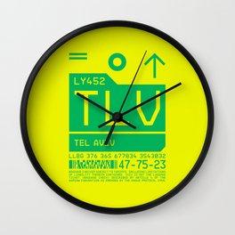 Baggage Tag C - TLV Tel Aviv Israel Wall Clock