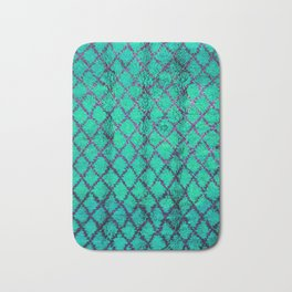-A4- Stylish Green Traditional Moroccan Carpet Texture. Bath Mat
