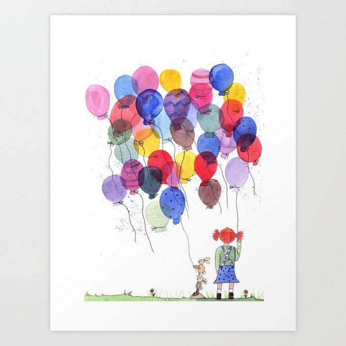 girl with balloons whimsical watercolor illustration Art Print