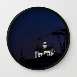 Battery Point Lighthouse in the night's blue cloak. Crescent City, California Wall Clock