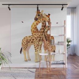 Cute giraffes loving family Wall Mural
