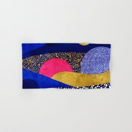 Terrazzo galaxy blue night yellow gold pink Hand & Bath Towel