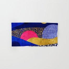 Terrazzo galaxy blue night yellow gold pink Hand & Bath Towel