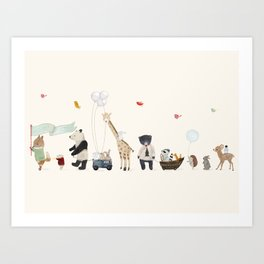 a woodland parade Art Print