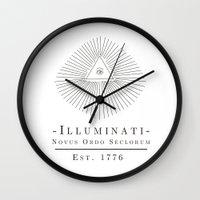 illuminati Wall Clocks featuring Illuminati by Fabian Bross