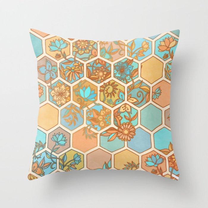 Golden Honeycomb Tangle Hexagon Doodle In Peach Blue Mint