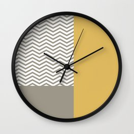 Modern Grey Chevrons Misted Yellow Colorblock Wall Clock