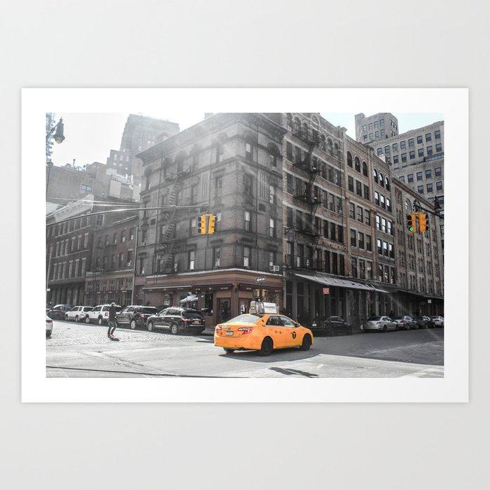 ArtWork Taxi New York City USA Black Colour PhotoArt Art Print