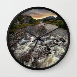Poolewe at dawn Wall Clock