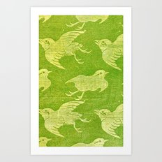 Asian oriental cranes birds green washi paper Art Print