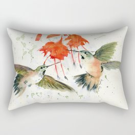 Hummingbird Watercolor Rectangular Pillow