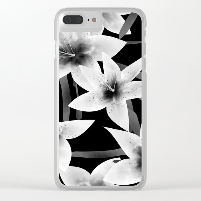 White lilies on a black background . Clear iPhone Case