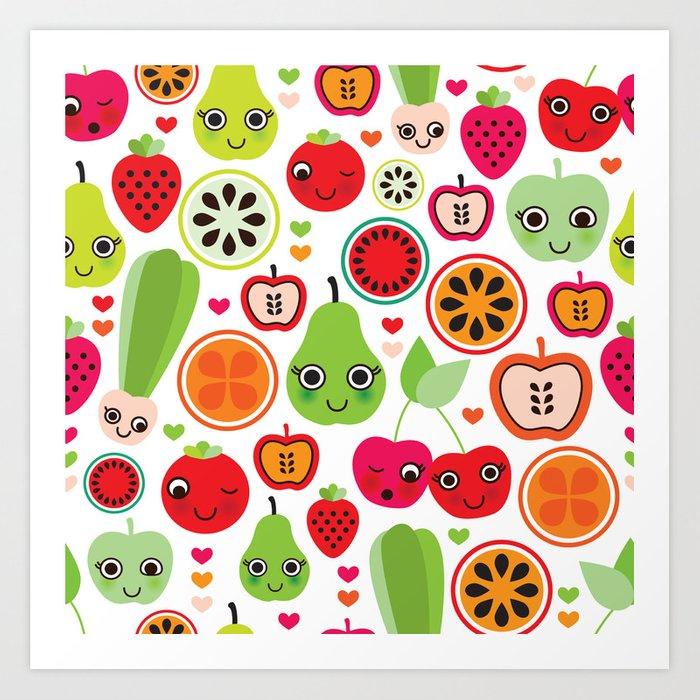 Colorful fruit cartoon characters illustration pattern Art Print by