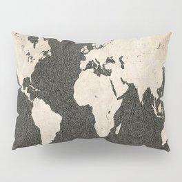 World Map - Ink lines Pillow Sham
