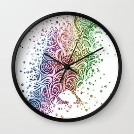 A Crow of Lace and Color Wall Clock