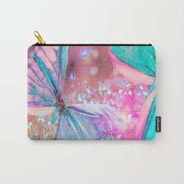 Turquoise butterflies on a pink background - lovely summer mood Carry-All Pouch