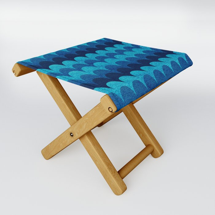 Abstraction_BLUE_WAVES Folding Stool
