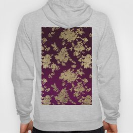 Chic faux gold burgundy ombre watercolor floral Hoody