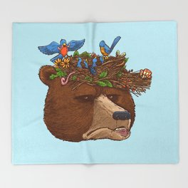 Mr Bear's Nature Hat 2017 Throw Blanket
