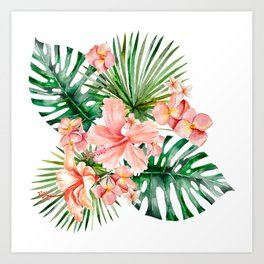 Tropical Jungle Hibiscus Flowers - Floral Art Print
