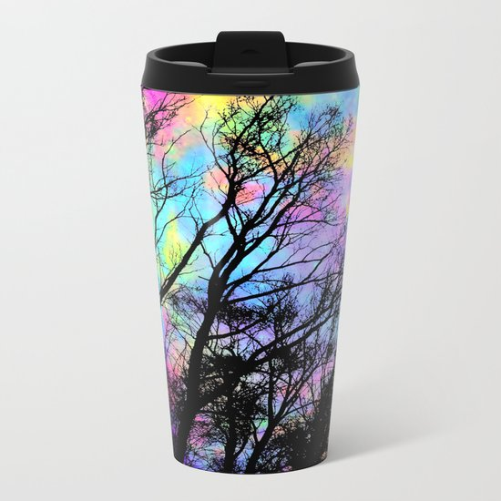 Black Trees Colorful space. Metal Travel Mug
