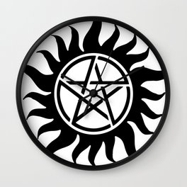 Anti Possession Sigil Black Wall Clock