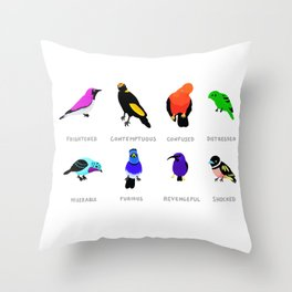 Birds react to the state of the world Throw Pillow