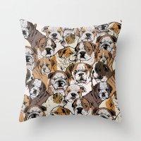 english bulldog Throw Pillows featuring Social English Bulldog by Huebucket