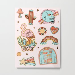 Rainbow Sticker Sheet Metal Print