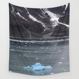 Alaska Snowy Mountain Cool Blue Icebergs Wall Tapestry