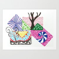 Whimsical No. 2 (Zentangle) Art Print