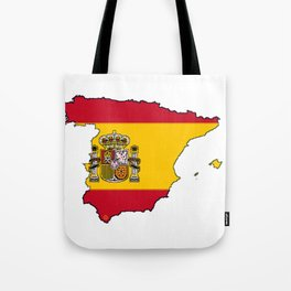 Spain Map with Spanish Flag Tote Bag