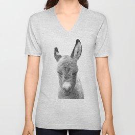Black and White Baby Donkey Unisex V-Neck