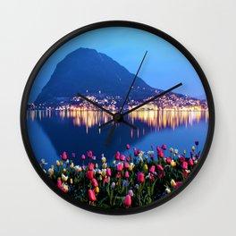 Tulips - Lake Lugano, Switzerland Landscape Photograph Wall Clock